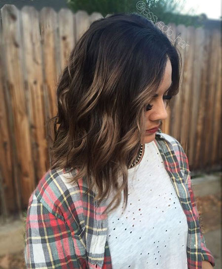 Dark, Brown, Balayage, Short, Highlights, Caramel, Blonde, Wave