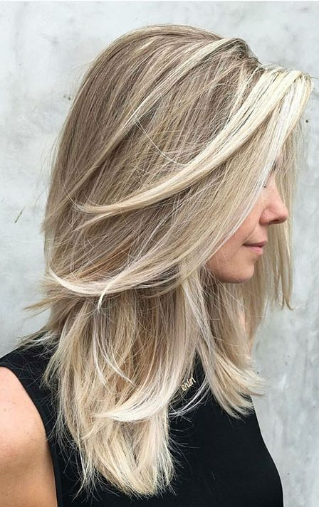 Blonde, Medium, Layered, Balayage, Short, Length, Layers