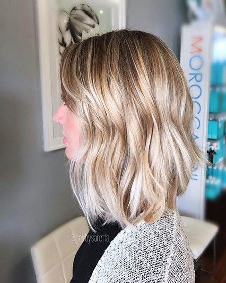 Blonde, Balayage, Thin, Wavy, Medium, Bob, Ombre, Lob