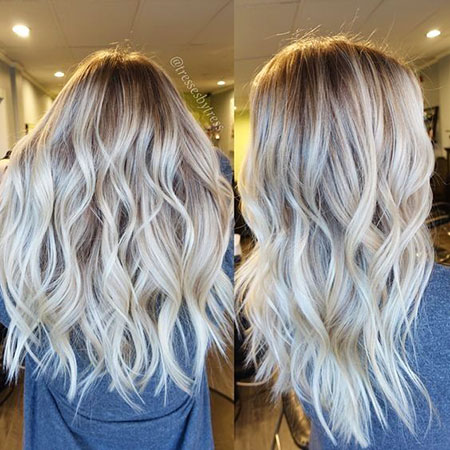 Blonde, Balayage, White, Trendy, Platinum, Highlights
