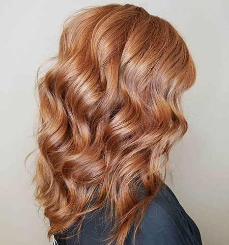 Strawberry, Flat, Curls, Blonde, Wavy, Medium, Balayage