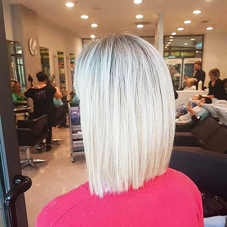 Blonde, Short, Medium, Highlights, Mid, Length, Bob, Balayage