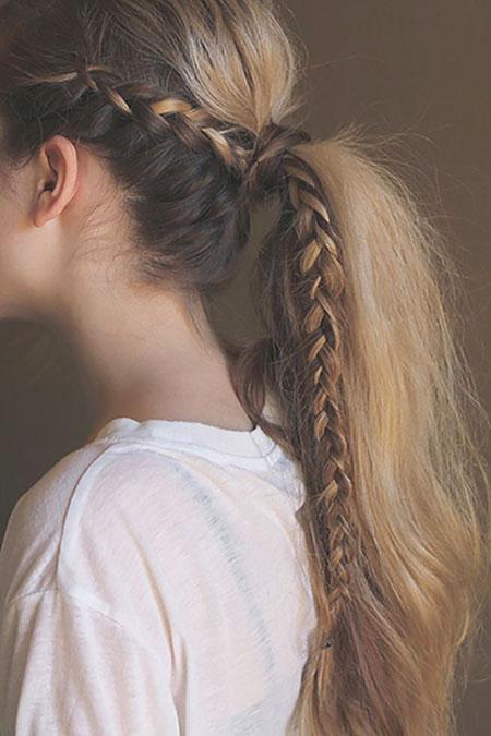 Braid, School, Ponytail, French, Fishtail, Braided, Pony, Plait