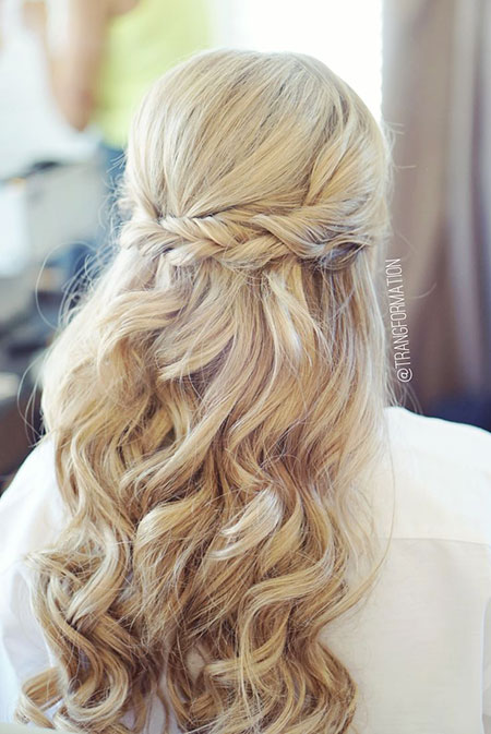 Wedding, Up, Half, Down, Twisted, Long, Curled, Crown