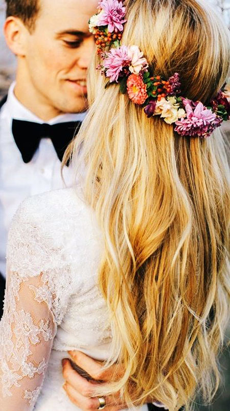 Wedding, Flower, Crown, Long, Flowers, Floral, Down, Bridal