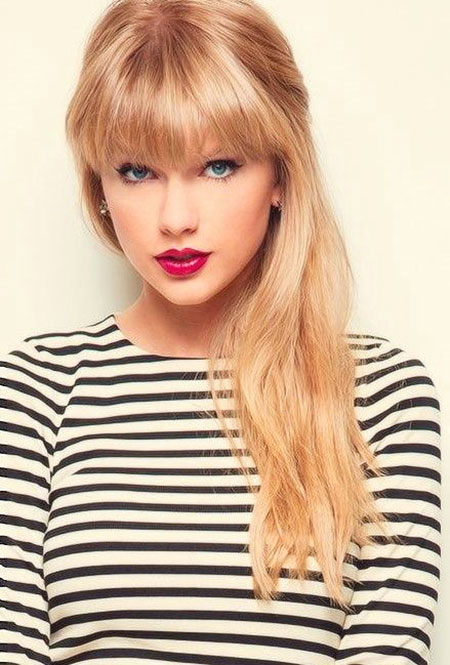 Bangs Taylor Swift Long Trendy Swept Side One