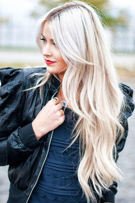 Long Blonde Shape Platinum Layered Colors Balayage