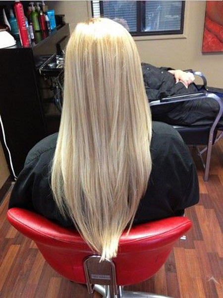 Blonde Long Women Highlights Straight Shape Platinum Length