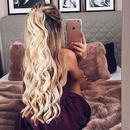 Long Blonde Waterfall Curls Braided Braid