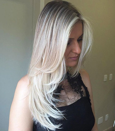 Thin, Blonde, Long, Ash, Platinum, Layers, Face, Black