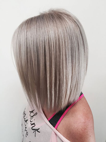 Blonde Bob Hairstyles, Blonde Hairstyles, Grey, Angled, Silver