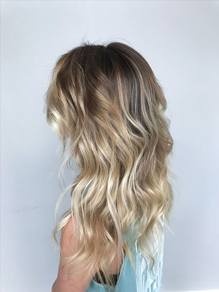 Blonde, Balayage, Ombre, Waves, Medium, Length, Fall, Beach