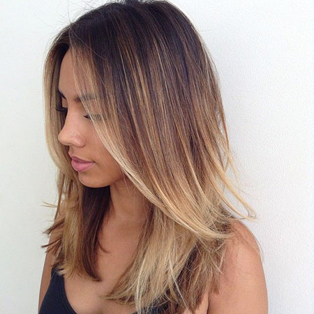 Ombre, Medium, Layered, Blonde, Balayage, Woman, Short, Sexy
