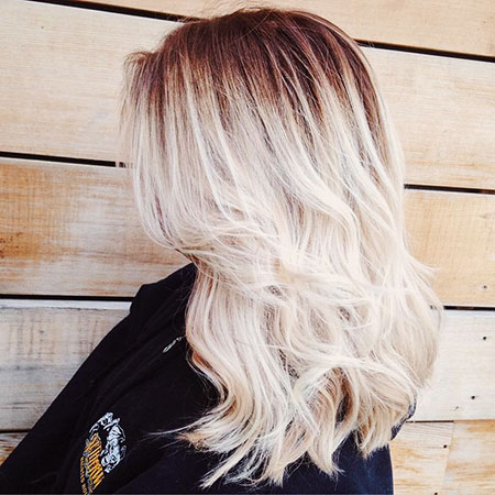 Blonde, Length, Balayage, Light, White, Textured