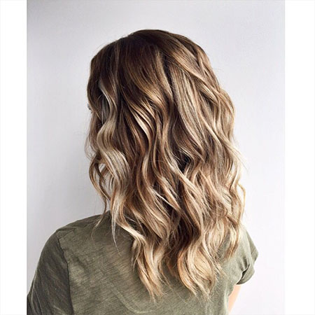 Blonde, Medium, Length, Flat, Curls, Balayage