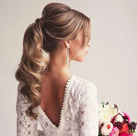 Wedding, Ponytail, Long, Down, Curly, Bridal