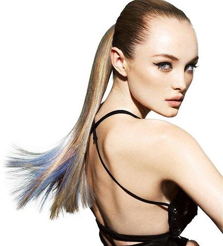 Sleek, Ponytail, Long, Blonde