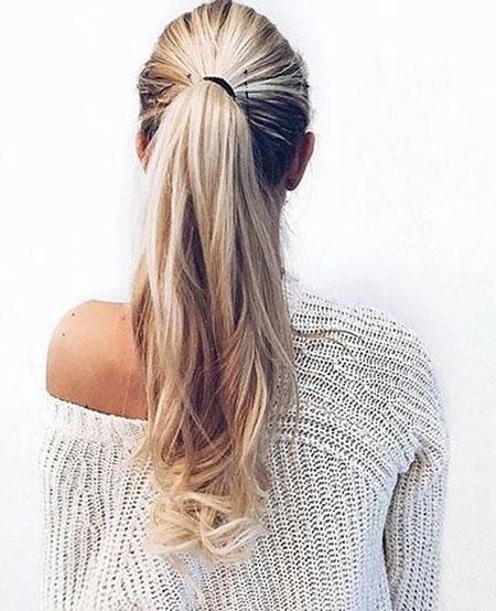 Ponytail, Blonde, Braided