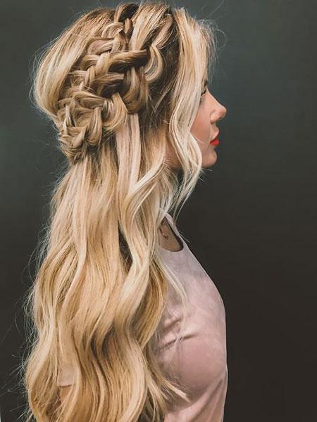 Waterfall, Braid, Wedding, Penteados, Braided, Blonde