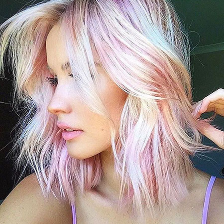 Pink, Short Hairstyles, Pixie Cut, Pastel, Long, Blonde Hairstyles, Bangs