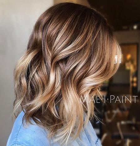 Blonde, Balayage, Ash, Wave, Medium, Length, Eyes, Brown, After