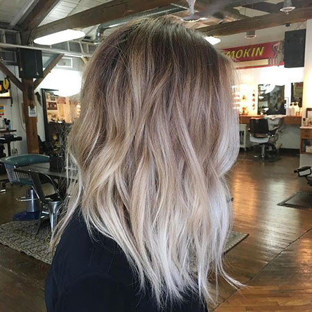 Blonde, Balayage, Ash, Shaggy, Ombre, Part, Dark, Below, 2017