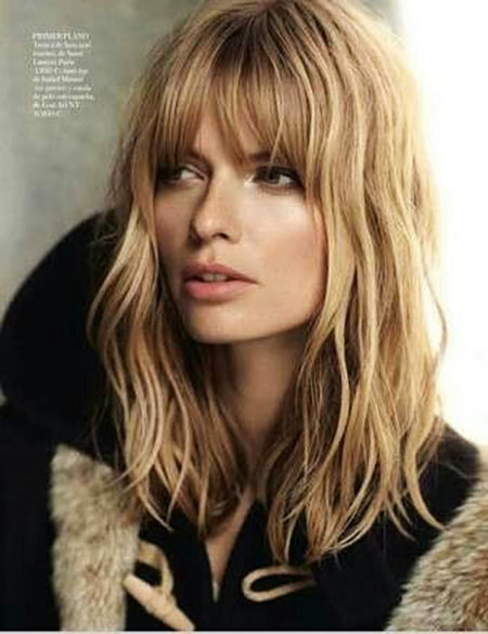 Bangs, Long, Fringe, Blonde, Wavy, Stegner, Lob, Layered, Julia