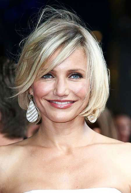 Short Hairstyles, Blonde Bob Hairstyles, Medium, Cameron, Platinum