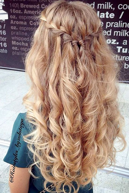Prom Hairstyle Wedding Waterfall Long Curly Fancy Curls