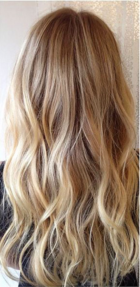 Blonde Highlights Balayage Waves Ombre