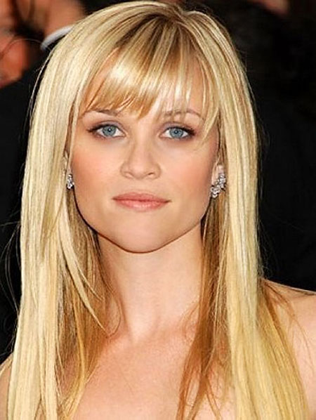 Long Reese Bangs witherspoon Tips Straight