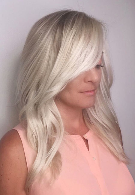 Blonde, Balayage, Side, Platinum, Long