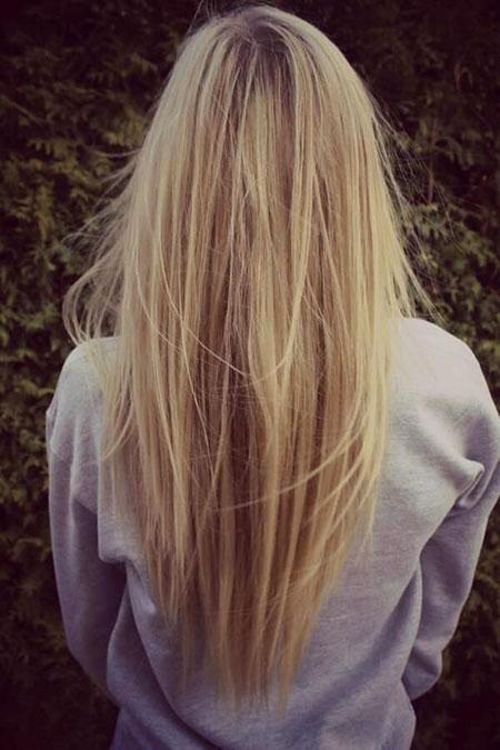 Blonde without Straight Long Highlights Choppy Balayage