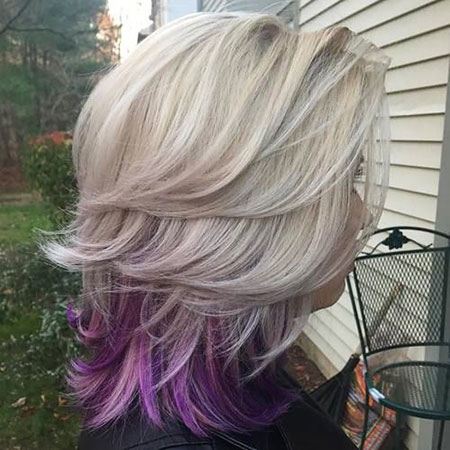 Blonde Hairstyles, Purple, Highlights, Silver