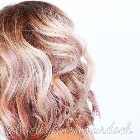 Gold, Rose, Blonde Hairstyles, Ombre, Thick, Slightly, Shoulder