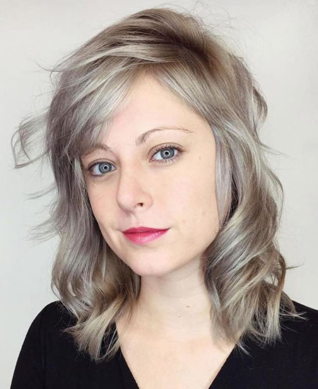 Blonde, Ash, Medium, Women, Wavy, Thin, Mature, Layered, Bob, Age