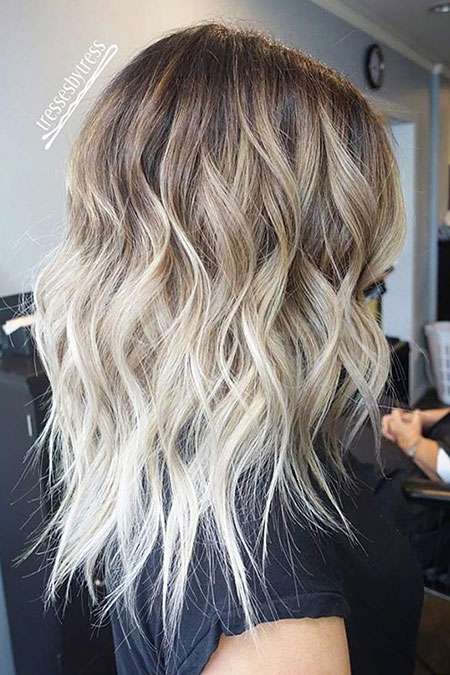 Blonde, Balayage, Ombre, Medium, Length, Frisyrer, Brown, Ash