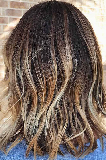 Balayage, Highlights, Wavy, Some, Medium, Length, Bronde, Blonde, Beach