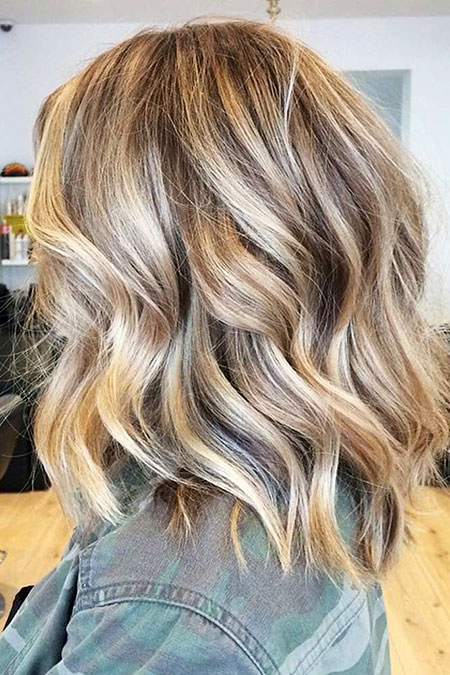 Medium, Blonde, Highlights, Bangs, Balayage, Waves, Teens