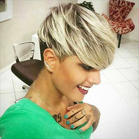 Short Hairstyles, Pixie Cut, Long, Bangs, Women, Tapered