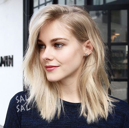 Blonde, Thin, Medium, Lob, Length, Short, Robbie