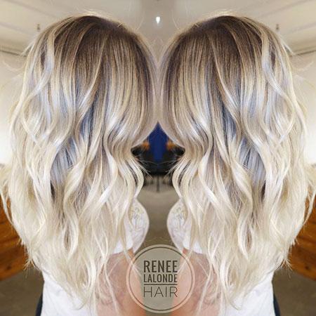 Blonde Balayage Platinum Long Light