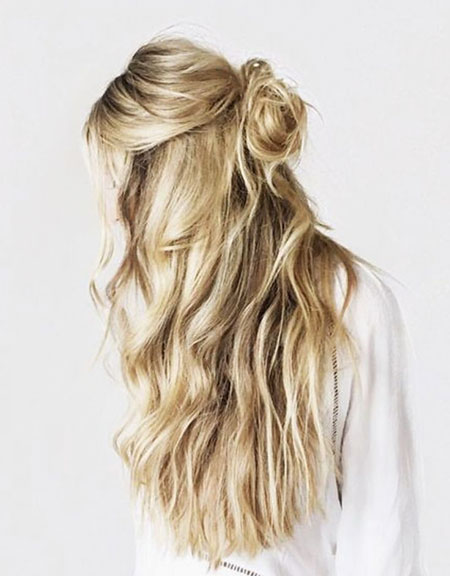 Up, Twisted, Messy, Half, Crown, Bun, Braided, Blonde, Balayage