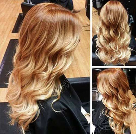 Blonde Long Highlights Red Ombre Copper 205