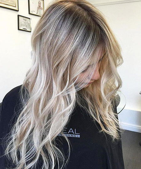 Blonde, Balayage, White, Thin, Long, Platinum, Girls, Colors