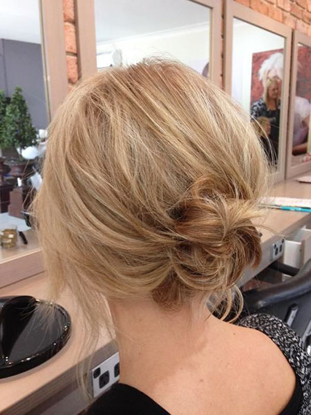 Blonde, Messy, Low, Updo, Bun, Short, Medium, Loose, Living