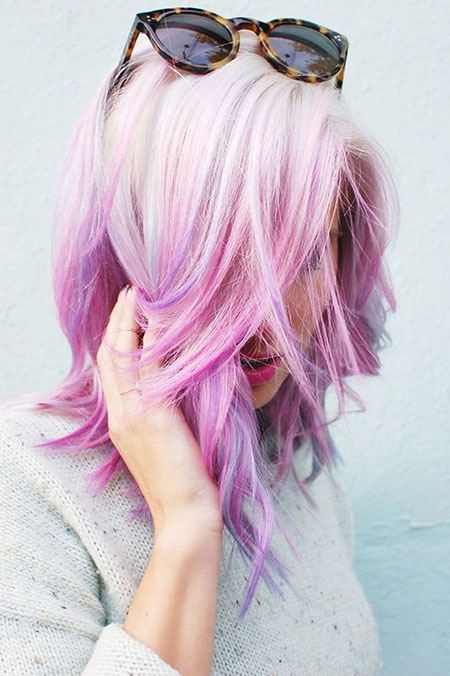 Pastel, Purple, Women, Trendy, Trends, Short Hairstyles, Pink