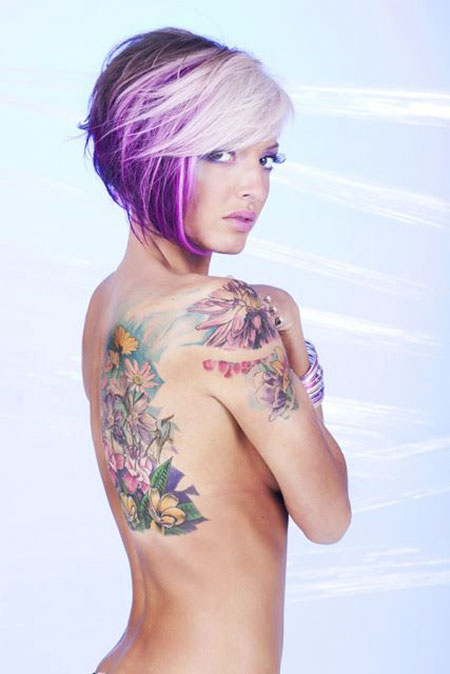 Short Hairstyles, 2017, Women, Tattoo, Purple, Fine