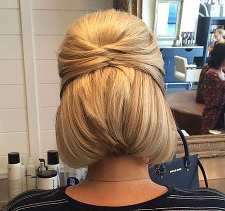 Bun, Braided, Blonde Bob Hairstyles, Women, Wedding, Updos, Updo