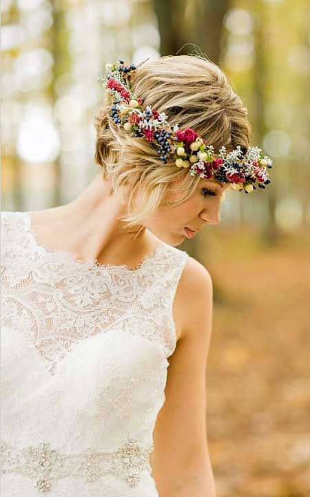 Wedding, Crown, Bridal, Flower, Warm, Updo, Short Hairstyles